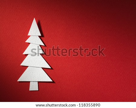 Cristmas tree paper cutting design card.