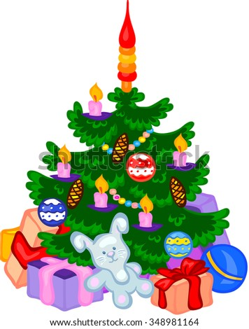 Cristmas tree with cones, balls, garlands and gifts. - stock photo