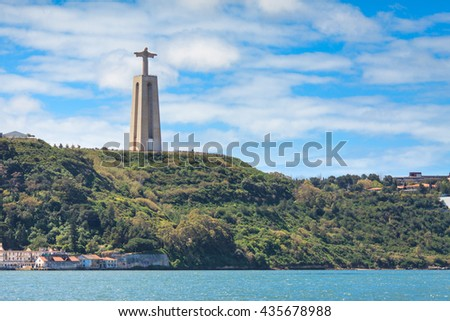 Cristo Rei or Christ the King. Lisbon. Portugal. View from the river.
