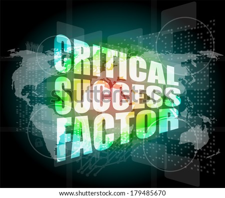 critical success factor words on business digital screen with world map - stock photo