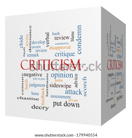 Criticism 3D cube Word Cloud Concept with great terms such as opinion, blame, critique and more. - stock photo