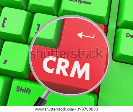 CRM - Business Concept. Button on Modern Computer Keyboard, 3d rendering - stock photo