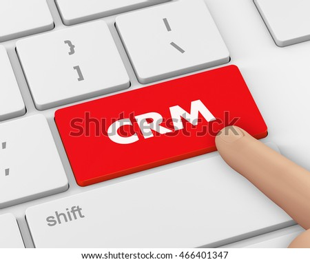 CRM - Business Concept. Button on Modern Computer Keyboard, 3d rendering