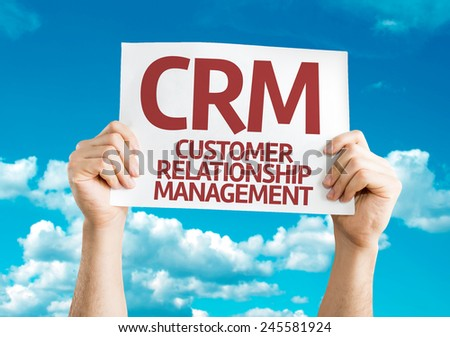CRM card with sky background - stock photo