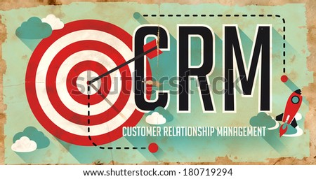 CRM Concept. Poster on Old Paper in Flat Design with Long Shadows. - stock photo