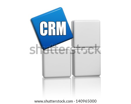 CRM, customer, relationship, management - 3d blue cube with letters on grey boxes, business concept - stock photo