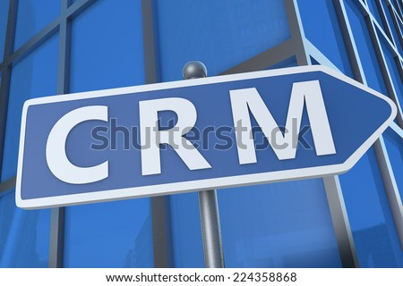CRM - Customer Relationship Management - illustration with street sign in front of office building.