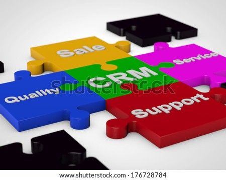 CRM Customer Relationship Management over white background - stock photo