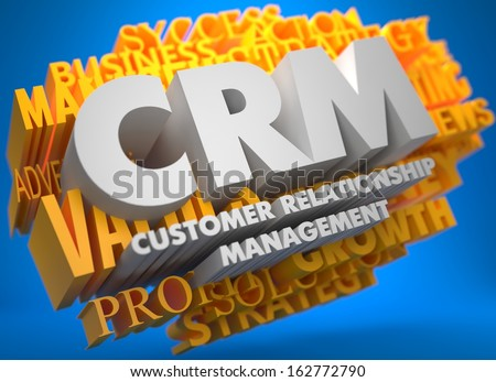 CRM - Customer Relationship Management. The Words in White Color on Cloud of Yellow Words on Blue Background. - stock photo