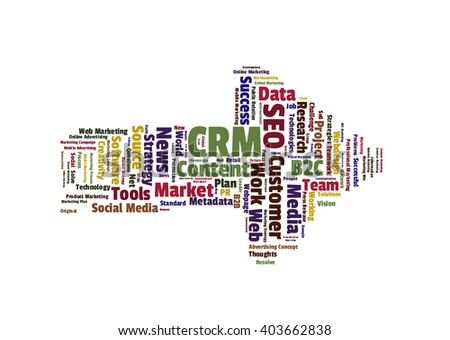 CRM word cloud shaped as a arrow to the right