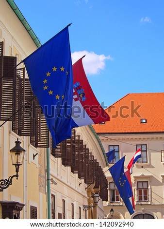 Croatia and EU flags in Zagreb Upper town - stock photo