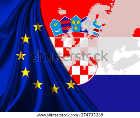 Croatia and European Union Flag with Europe map background - stock photo