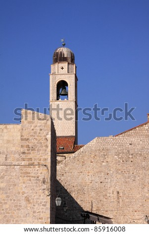 Croatia Dubrovnik Historical center UNESCO World Heritage Site restored after being damaged by heavy bombardments in the Balkan war - city clock tower and defensive walls