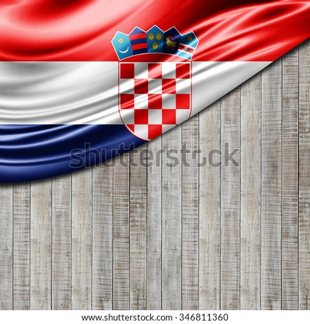 Croatia flag  of silk with copyspace for your text or images and wood background