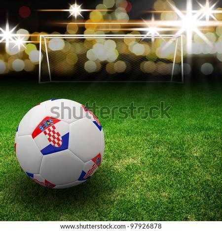 Croatia flag on 3d football for Euro 2012 Group C - stock photo
