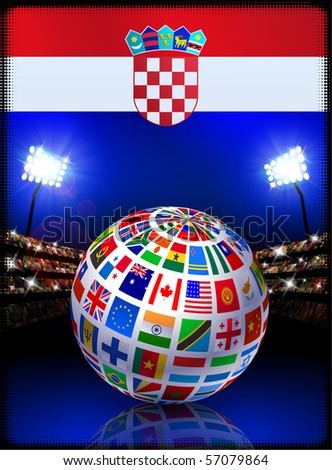 Croatia Flag with Globe on Stadium Background Original Illustration