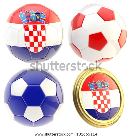 Croatia football team set of four soccer ball attributes isolated on white - stock photo
