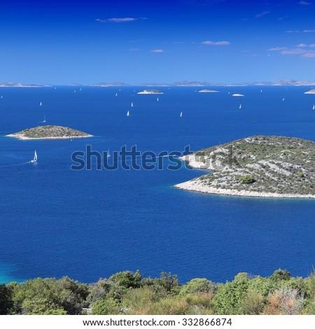 Croatia - Mediterranean coast landscape in Dalmatia. Kornati islands. - stock photo