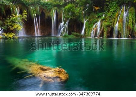 Croatia. Plitvice Lakes. Waterfall with turquoise water - stock photo