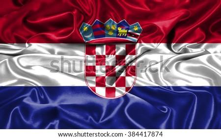 croatia  silk flag - stock photo