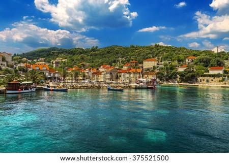 Croatia. South Dalmatia - Elaphiti Island. The island of Sipan (also Sipano, Giuppana) situated near Dubrovnik city. Sudurad (San Giorgio) settlement - stock photo