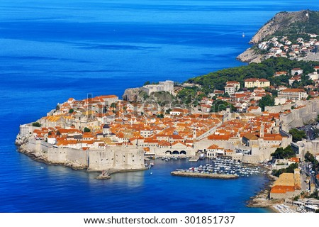 Croatia. South Dalmatia. General view of Dubrovnik - the old walled city (it is on UNESCO World Heritage List since 1979)