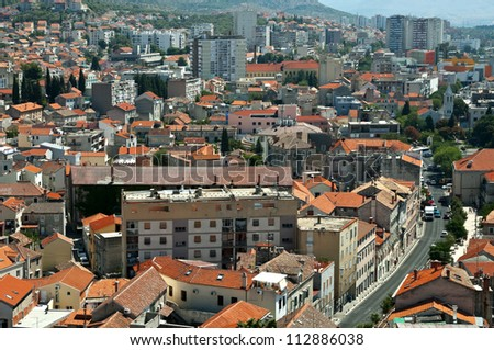 Croatia. View over Sibenik with many houses and apartment blocks