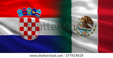 Croatia vs Mexico flags concept for soccer (football) matches - stock photo