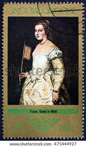 CROATIA ZAGREB, 1 AUGUST 2016: a stamp printed in Germany shows Lady in White, Painting by Titian, circa 1973