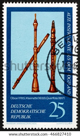 CROATIA ZAGREB, 1 AUGUST 2016: a stamp printed in Germany shows Oboe, 1785, Clarinet, 1830 and Flute, 1817, Vogtland Musical Instruments from Markneukirchen Museum, circa 1977