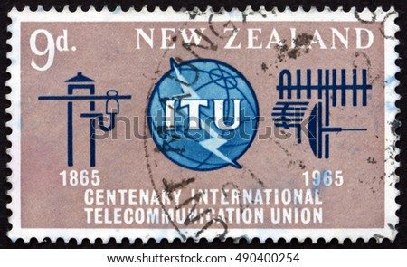 CROATIA ZAGREB, 1 AUGUST 2016: a stamp printed in New Zealand shows ITU Emblem, Old and New Communication Equipment, circa 1965