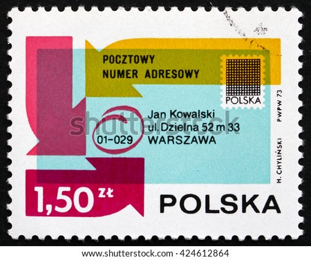 CROATIA ZAGREB, 21 AUGUST 2014: a stamp printed in the Poland shows Envelope Showing Postal Code, Introduction of Postal Code System in Poland, circa 1954 - stock photo
