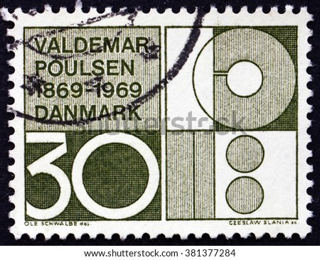 CROATIA ZAGREB, 7 FEBRUARY 2016: a stamp printed in Denmark dedicated to Valdemar Poulsen, Engineer and Inventor, Symbolic Design, circa 1969