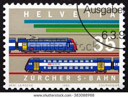 CROATIA ZAGREB, 7 FEBRUARY 2016: a stamp printed in Switzerland shows Locomotives, Urban Railway System, Zurich, circa 1990 - stock photo
