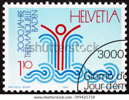 CROATIA ZAGREB, 7 FEBRUARY 2016: a stamp printed in the Switzerland dedicated to Baden Hot Spring, 2000th Anniversary, circa 1987 - stock photo