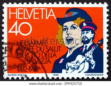 CROATIA ZAGREB, 7 FEBRUARY 2016: a stamp printed in the Switzerland dedicated to Salvation Army in Switzerland, Centenary, circa 1982 - stock photo