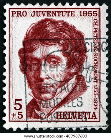 CROATIA ZAGREB, 21 FEBRUARY 2016: a stamp printed in the Switzerland shows Charles Pictet de Rochemont, Statesman and Diplomat, circa 1955 - stock photo