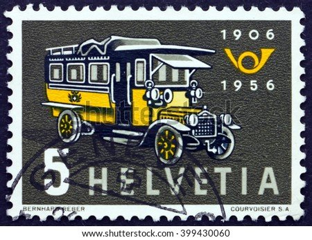 CROATIA ZAGREB, 7 FEBRUARY 2016: a stamp printed in the Switzerland shows First Swiss Post Bus, 50th Anniversary of the Swiss Motor Coach Service, circa 1956 - stock photo
