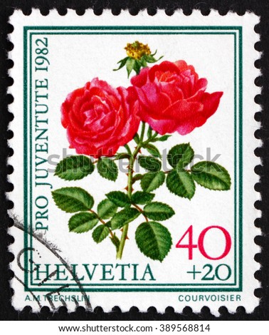 CROATIA ZAGREB, 7 FEBRUARY 2016: a stamp printed in the Switzerland shows Hugh Dickson, Famous Rose, Flower, circa 1982 - stock photo