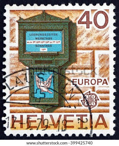CROATIA ZAGREB, 7 FEBRUARY 2016: a stamp printed in the Switzerland shows Letter Box, 1845, Spalentor, Basel, circa 1979 - stock photo