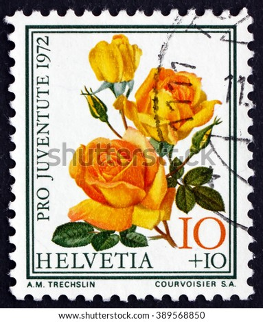 CROATIA ZAGREB, 7 FEBRUARY 2016: a stamp printed in the Switzerland shows McGredy's Sunset, Famous Rose, Flower, circa 1972 - stock photo