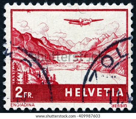 CROATIA ZAGREB, 21 FEBRUARY 2016: a stamp printed in the Switzerland shows The Engadine, Valley in Graubunden, circa 1941