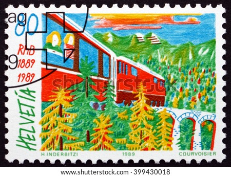 CROATIA ZAGREB, 7 FEBRUARY 2016: a stamp printed in the Switzerland shows Train and Viaduct, Centenary of the Rhaetian Railway, circa 1989 - stock photo