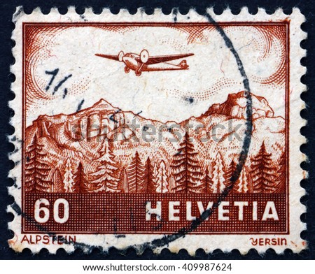 CROATIA ZAGREB, 21 FEBRUARY 2016: a stamp printed in the Switzerland shows View of Alpstein, Mountain, circa 1941 - stock photo