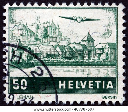 CROATIA ZAGREB, 21 FEBRUARY 2016: a stamp printed in the Switzerland shows View of Lake Geneva, circa 1941