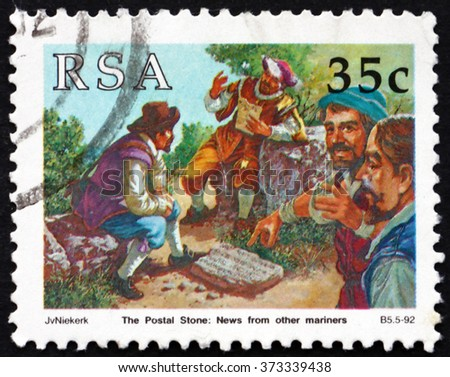 CROATIA ZAGREB, 30 JANUARY 2016: a stamp printed in South Africa dedicated to Postal Stone, Reading News from other Mariners, circa 1992 - stock photo