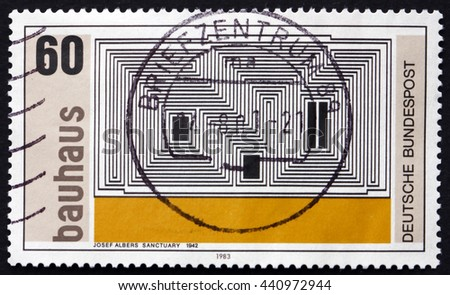 CROATIA ZAGREB, 10 JUNE 2016: a stamp printed in the Germany shows Sanctuary, Zinc Lithograph, by Josef Albers, 1942, Bauhaus, circa 1983 - stock photo