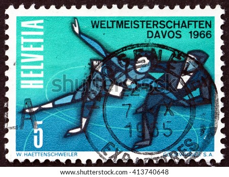 CROATIA ZAGREB, 28 MARCH 2016: a stamp printed in the Switzerland shows Figure Skating, World Figure Skating Championships, Davos, circa 1965 - stock photo