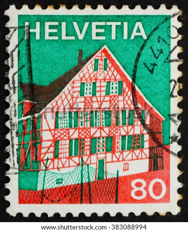 CROATIA ZAGREB, 12 MAY 2012: a stamp printed in the Switzerland shows Ermatingen, Thurgau, Eastern Switzerland, circa 1973 - stock photo
