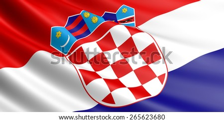 Croatian flag fluttering in wind. - stock photo